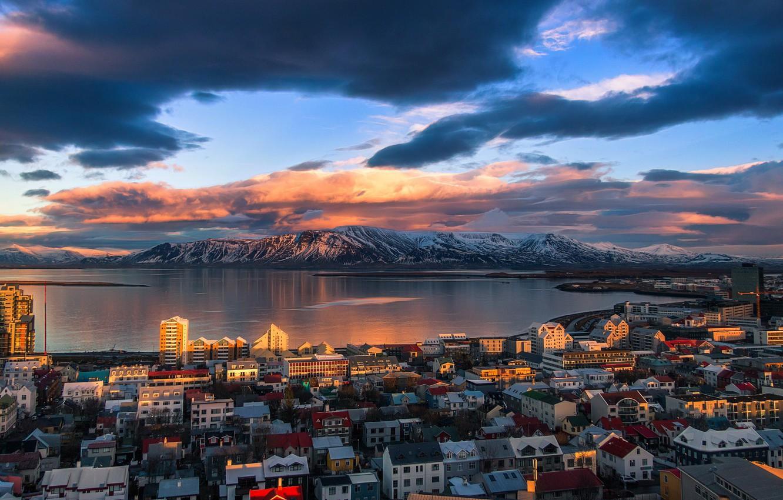 Обои рейкьявик, Исландия, ночь, свет. Города foto 14