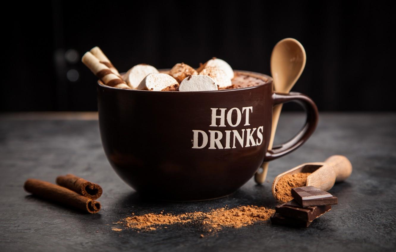 Фото обои кофе, шоколад, напиток, корица, какао