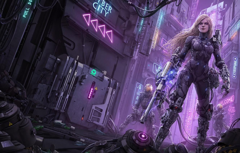 Фото обои город, оружие, фантастика, улица, робот, киборг, art, rika