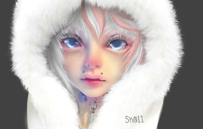 Фото обои лицо, ресницы, пирсинг, капюшон, голубые глаза, art, белый мех, портрет девушки, Sk011