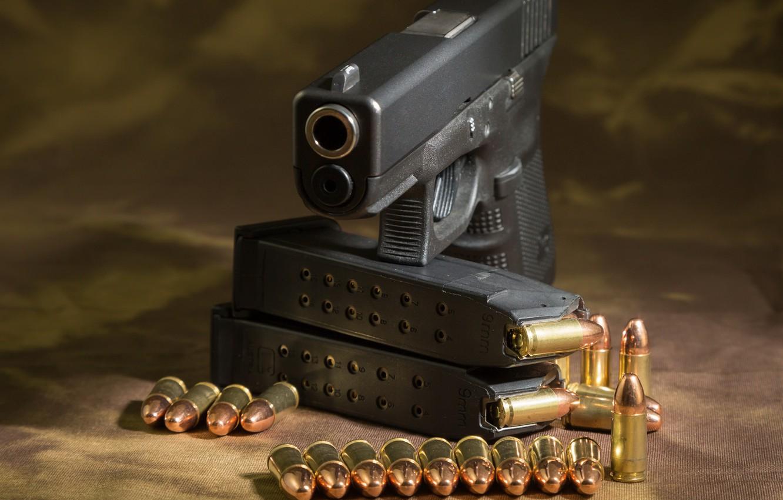 Фото обои пистолет, патроны, glock