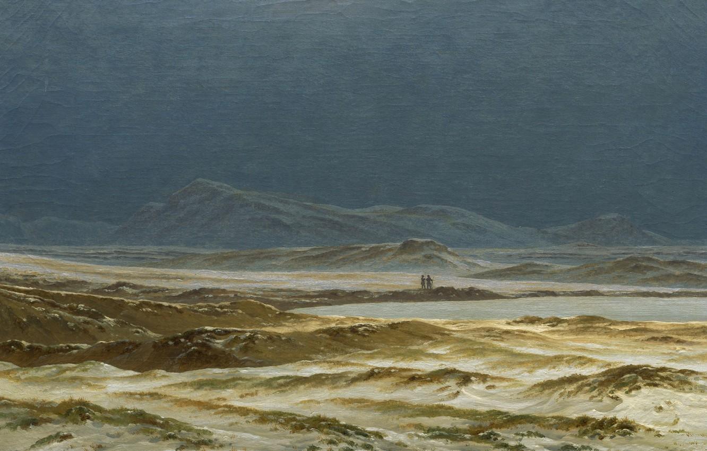 Фото обои горы, озеро, картина, Каспар Давид Фридрих, Северный Пейзаж. Весна