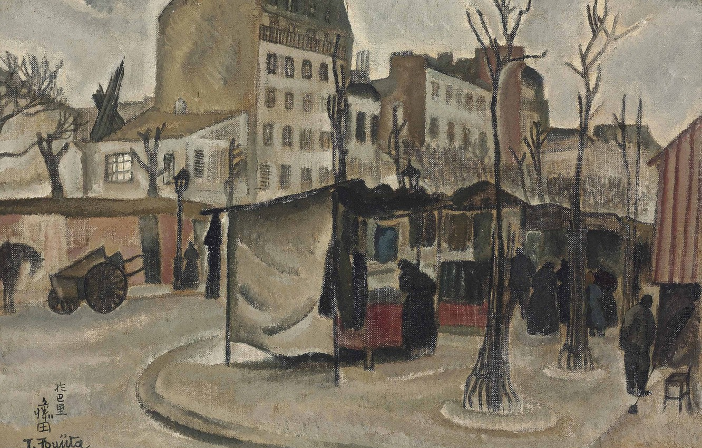 Фото обои деревья, люди, дома, коляска, 1918, Цугухару, Фудзита, Парижский рынок