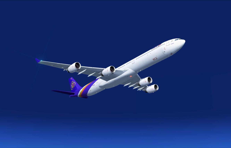 Фото обои небо, большой, Высота, самолёт, sky, 340, airplanes, пассажирский, Airbus, Аэробус, A340, Эшелон, Thai, A346, A340-600