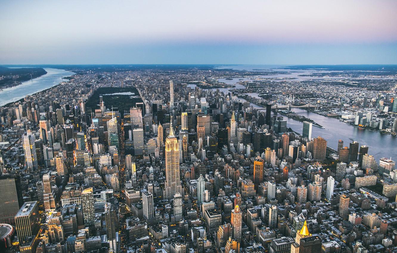 Фото обои город, панорама, мегаполис, New York
