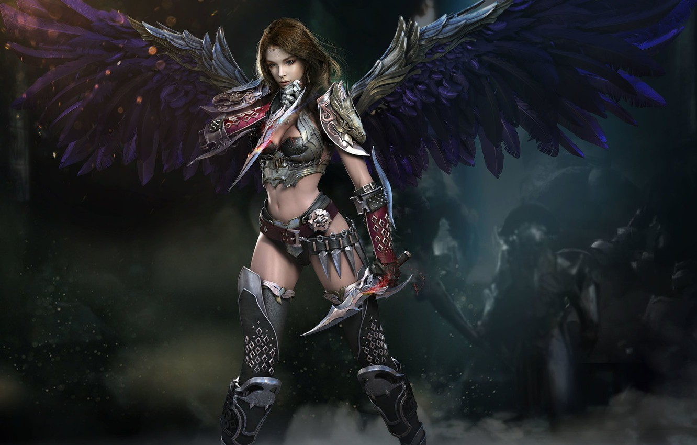 Фото обои взгляд, девушка, оружие, доспехи, Крылья