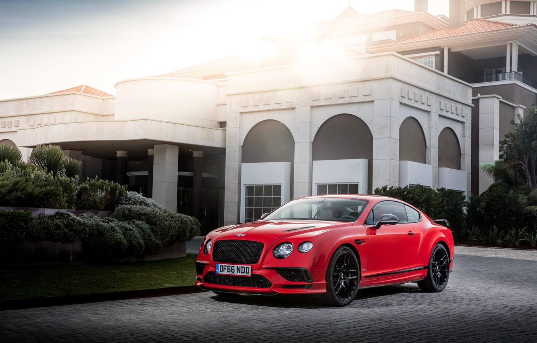 Фото обои Красный, Bentley, Continental, Автомобиль, 2017, Supersports, Worldwide
