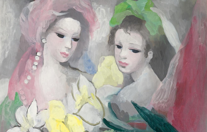 Фото обои Модерн, Marie Laurencin, Две девушки с цветами