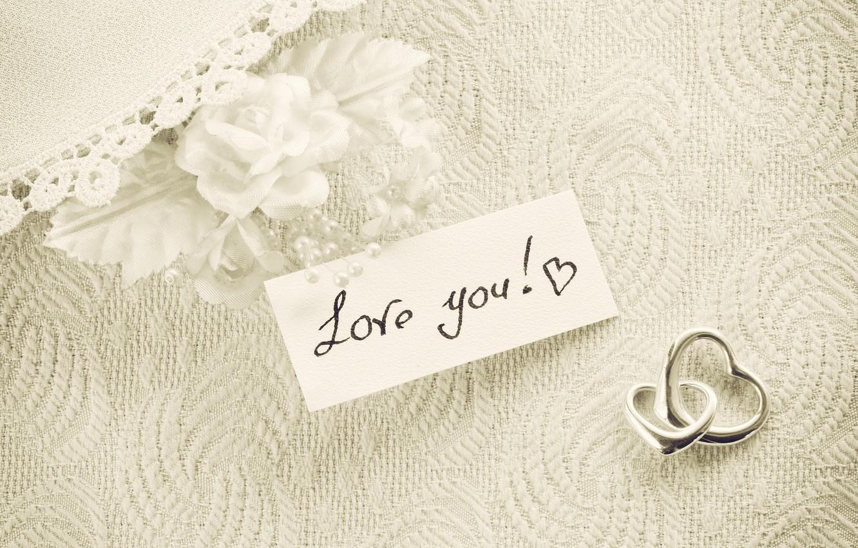 Фото обои сердечки, white, vintage, I love you, romantic, hearts, gift, roses