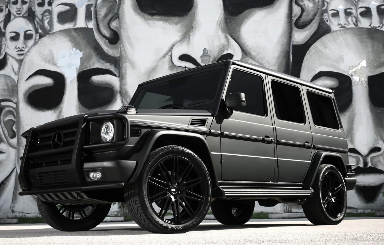 Фото обои Mercedes, black, AMG, G55, with, matte, full, wrap
