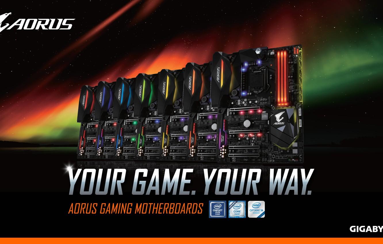 Фото обои gaming, материнская плата, motherboard, AORUS, your game