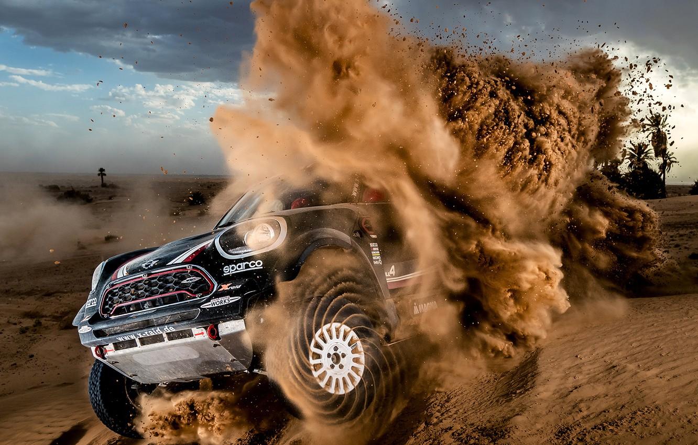 Фото обои Песок, Mini, Спорт, Пустыня, Гонка, Rally, Dakar, Дакар, Внедорожник, Ралли, Дюна, X-Raid Team, MINI Cooper, …