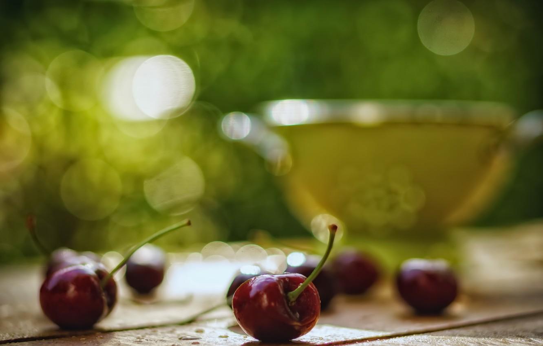 Фото обои вишня, фон, ягода