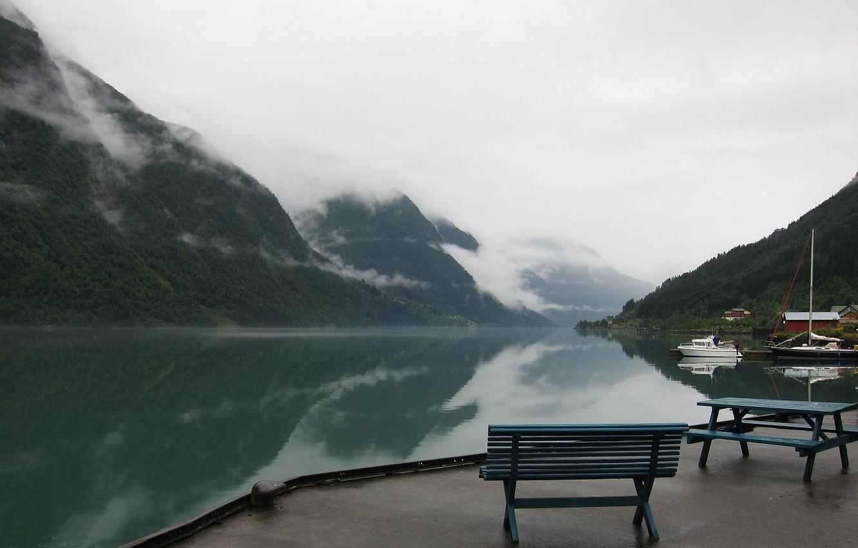 Фото обои горы, озеро, причал, Норвегия, дымка, Norway, фьорд, Sogn og Fjordane, Fjaerland