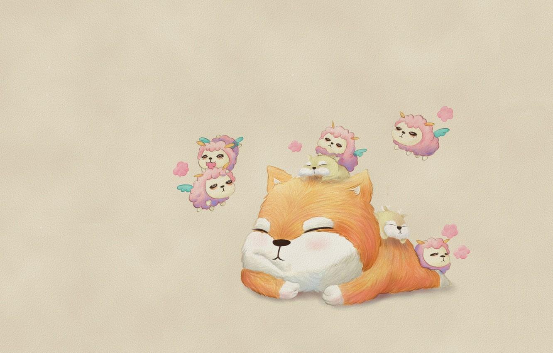 Фото обои настроение, сон, котик, аниме, арт, романтик, детская, барашки