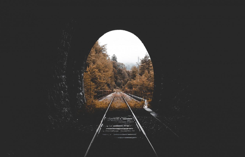 Фото обои autumn, tunnel, railway