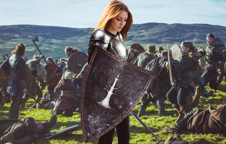 Фото обои dream, girl, fantasy, armor, field, nature, young, model, pretty, mood, army, battle, look, wind, cute, …