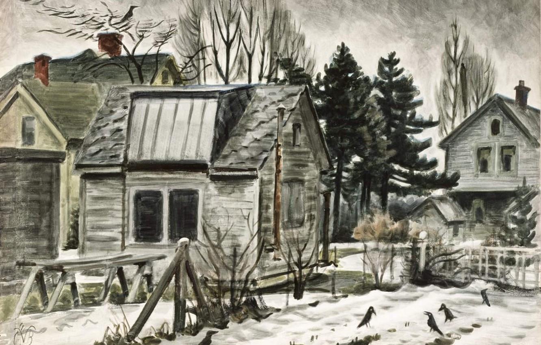 Фото обои Charles Ephraim Burchfield, 1941-45 1, Blackbirds in the Snow