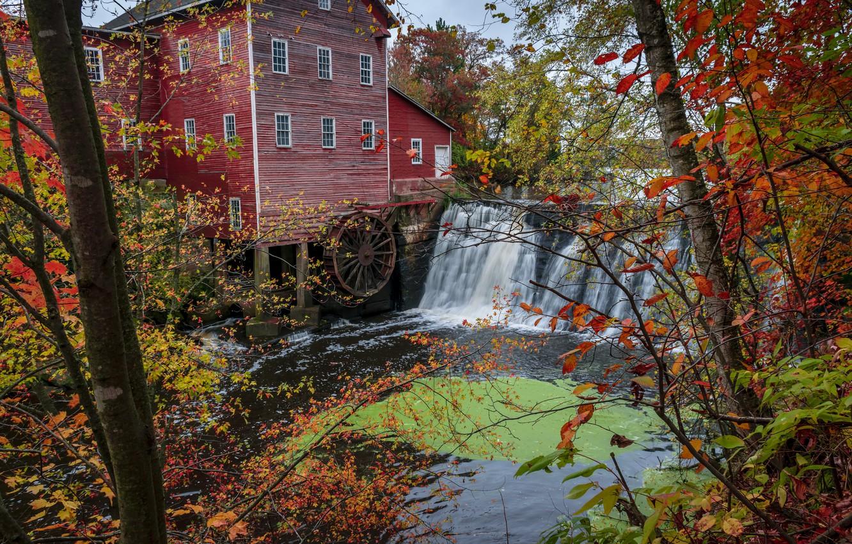 Фото обои осень, лес, деревья, река, водопад, США, водяная мельница, Wisconsin, Augusta