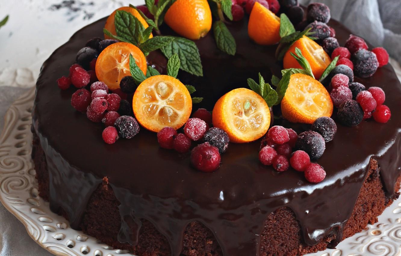 Торт с фруктами и шоколадом фото фотоаппарат-легенда