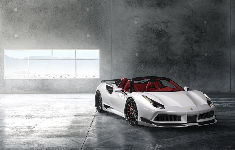 Фото обои Ferrari, Front, White, Supercar, Wide, 488, Rearl