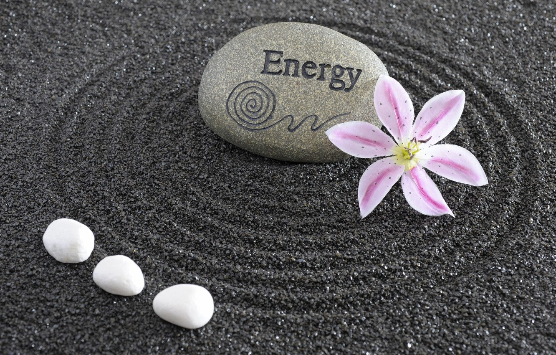 Фото обои энергия, цветы, камень, Япония, сад, Japan, stone, Дзен, energy, garden, философия, Zen, sand monk