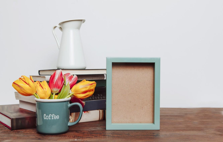 Фото обои цветы, фото, книги, букет, рамка, colorful, кружка, тюльпаны, flowers, romantic, tulips, spring, coffee, mug