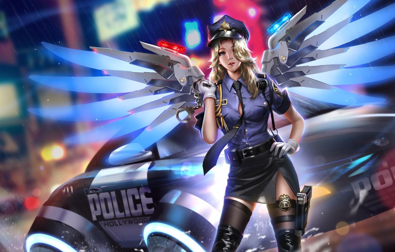 Фото обои машина, девушка, огни, пистолет, оружие, дождь, крылья, полиция, арт, форма, наручники, overwatch, mercy, liang xing