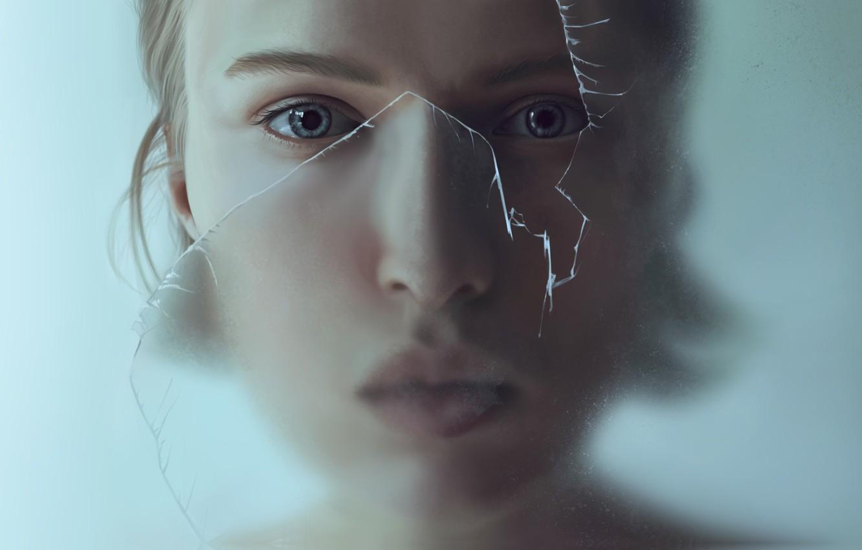Фото обои стекло, девушка, арт, François Dumoulin, Find yourself