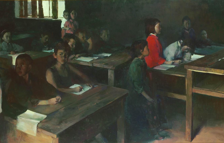 Фото обои школа, парты, ученики, Hope, китайцы, HongNian Zhang, касс