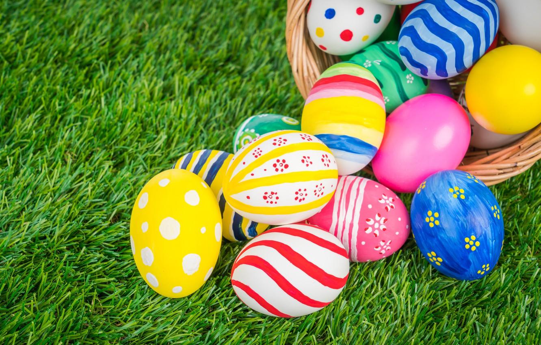 Фото обои праздник, корзина, яйца, пасха, травка