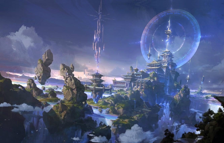Фото обои небо, город, замок, игра, локация, 《大主宰》牧府气氛设计插图, lok du