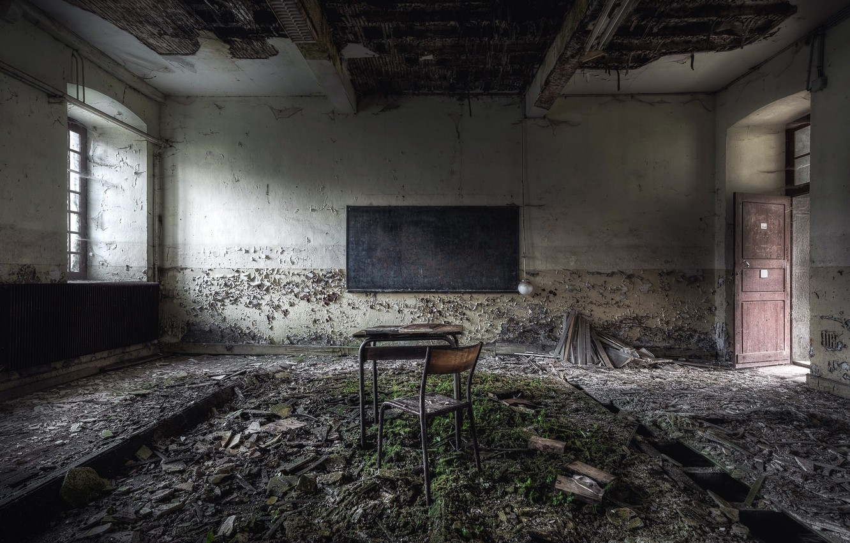 Фото обои стул, доска, парта, школа