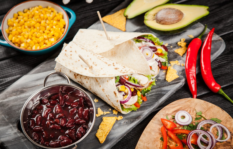 Фото обои лук, мясо, овощи, food, лаваш, лепешка, mexican, tortillla