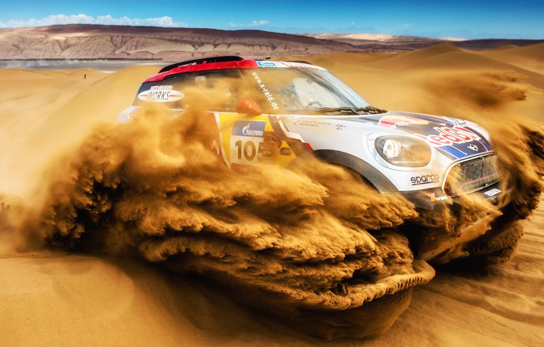 Фото обои Песок, Mini, Пустыня, Скорость, Rally, Внедорожник, Ралли, 105, Дюна, X-Raid Team, MINI Cooper, Шёлковый путь, …