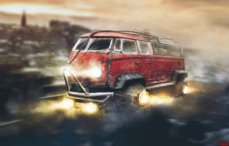 Фото обои Красный, Авто, Рисунок, Volkswagen, Машина, Фон, Car, Автомобиль, Арт, Art, Фантастика, Рендеринг, Летит, Yasid Design, …
