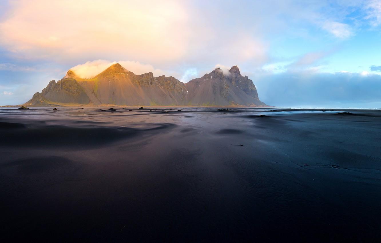 Обои берег, море, Vestrahorn Islande. Природа foto 13