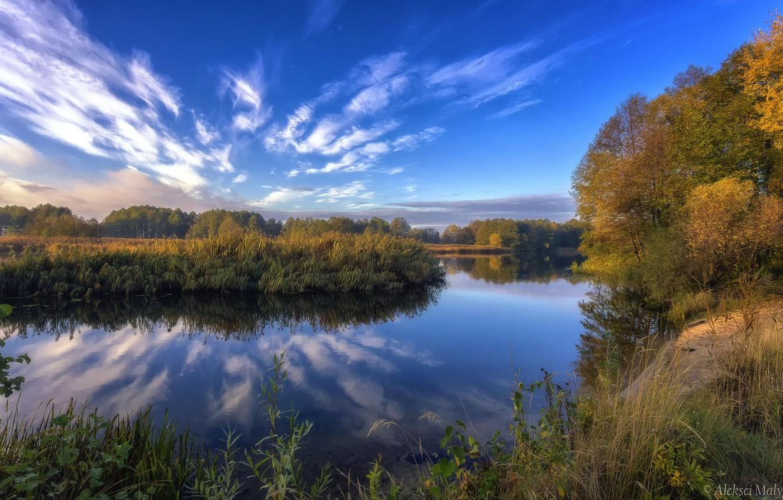Фото обои осень, небо, деревья, озеро, красота, Aleksei Malygin