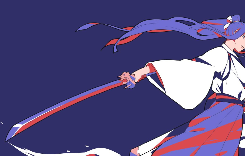 Фото обои кровь, катана, лезвие, японская одежда, злобный взгляд, Kill la Kill, Kiryuin Satsuki, круши кромсай, женщина …