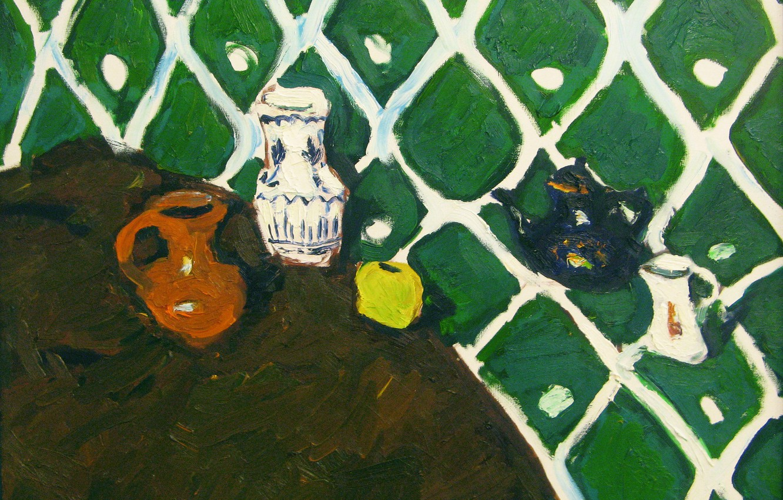 Фото обои яблоко, 2008, чайник, ваза, кувшин, натюрморт, зелёный фон, графин, Петяев