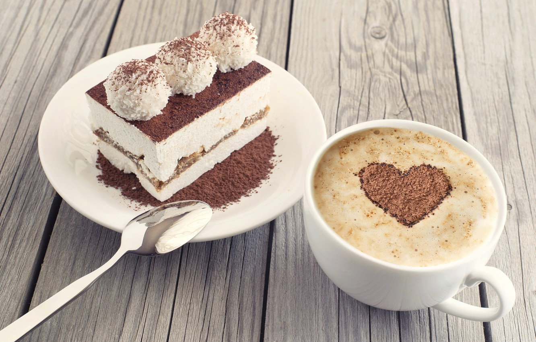 Фото обои сердце, кофе, конфеты, пирожное, какао