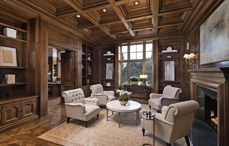 Фото обои стиль, интерьер, гостиная, Santa Barbara, французская усадьба, Cigar & Whisky Lounge