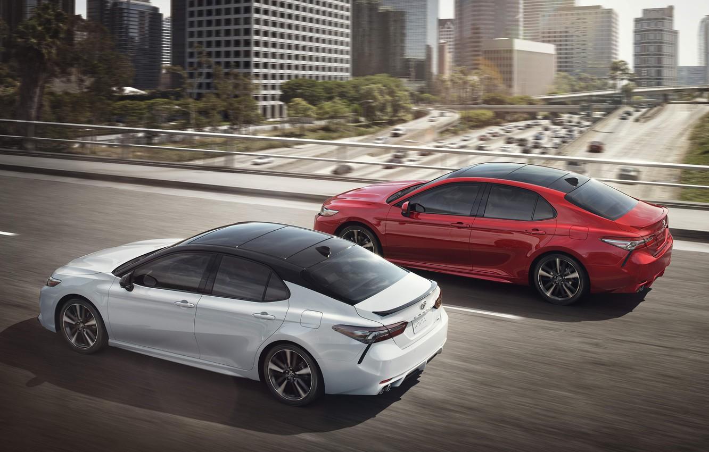 Фото обои Red, Toyota, White, Camry, 2017, XSE