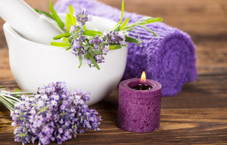 Фото обои цветы, свеча, полотенце, лаванда
