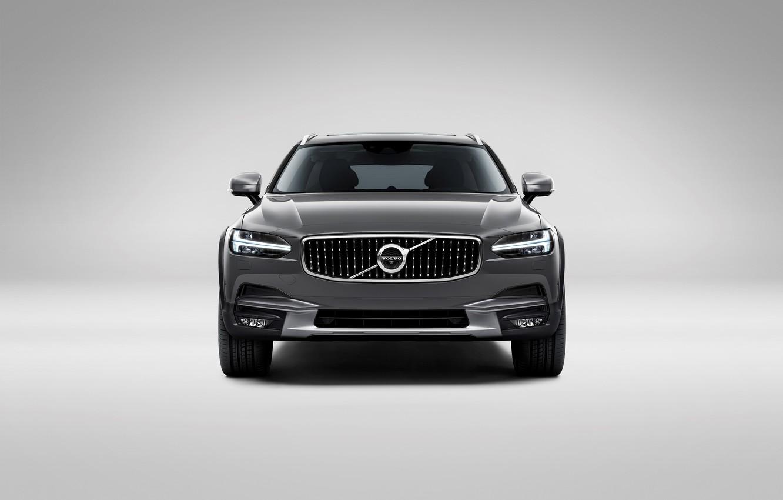 Фото обои Volvo, Car, Silver, Cross Country, Универсал, 2017, V90