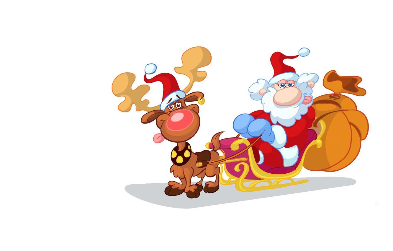 Фото обои праздник, минимализм, олень, арт, Новый год, сани, Санта Клаус, мешок