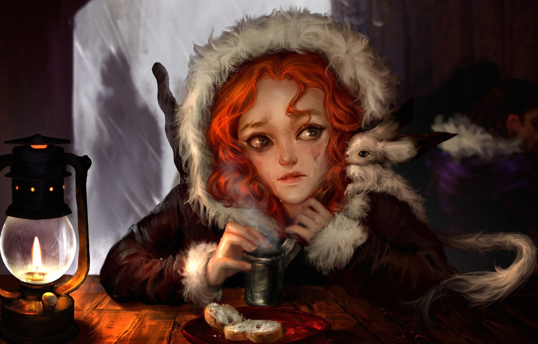 Фото обои девушка, настроение, фэнтези, арт, слёзы, обед, кабак, Winter Tale, Ilse Harting