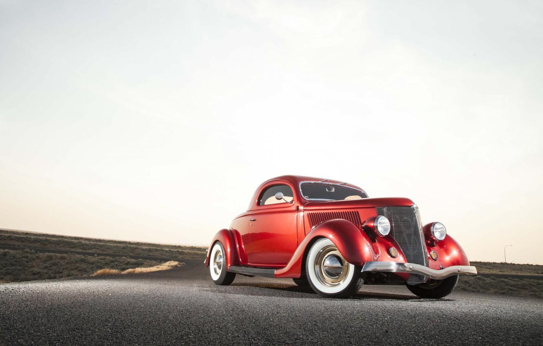 Фото обои Ford, red, retro, 1936, old car