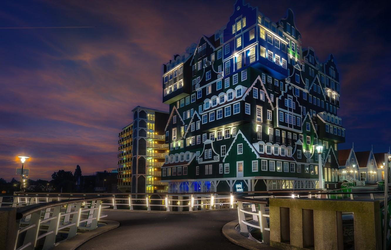 Фото обои огни, вечер, отель, Нидерланды, Голландия, Zaandam, Зандам