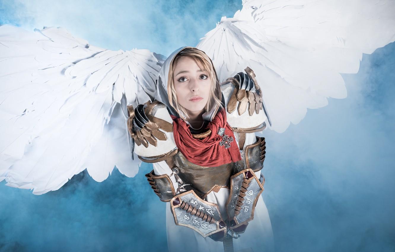 Фото обои девушка, ангел, меч, косплей